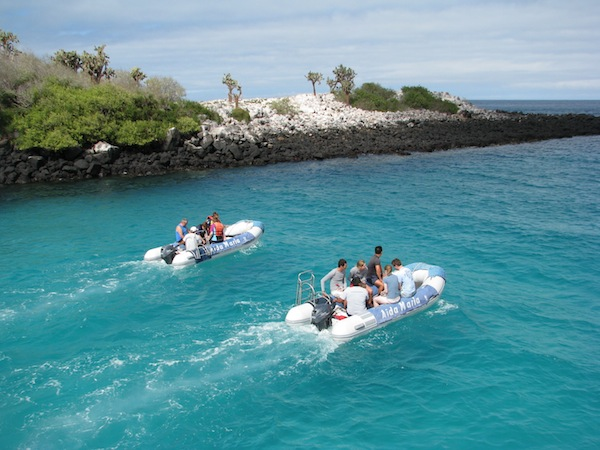 Dinghy ride onboard a comfortable Galapagos yacht