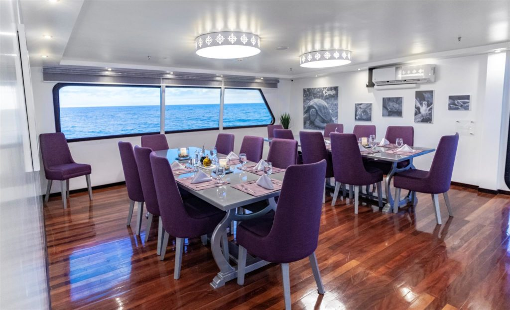 Classy Dining room onboard Camila Trimaran