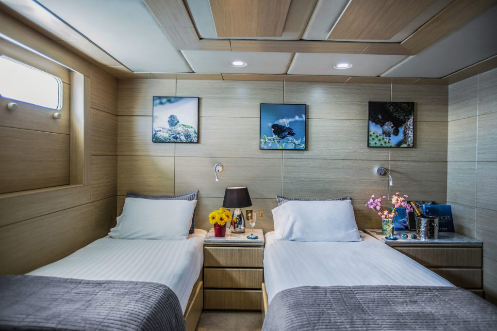 Spacious and luxurious staterooms aboard the best Galapagos private charter
