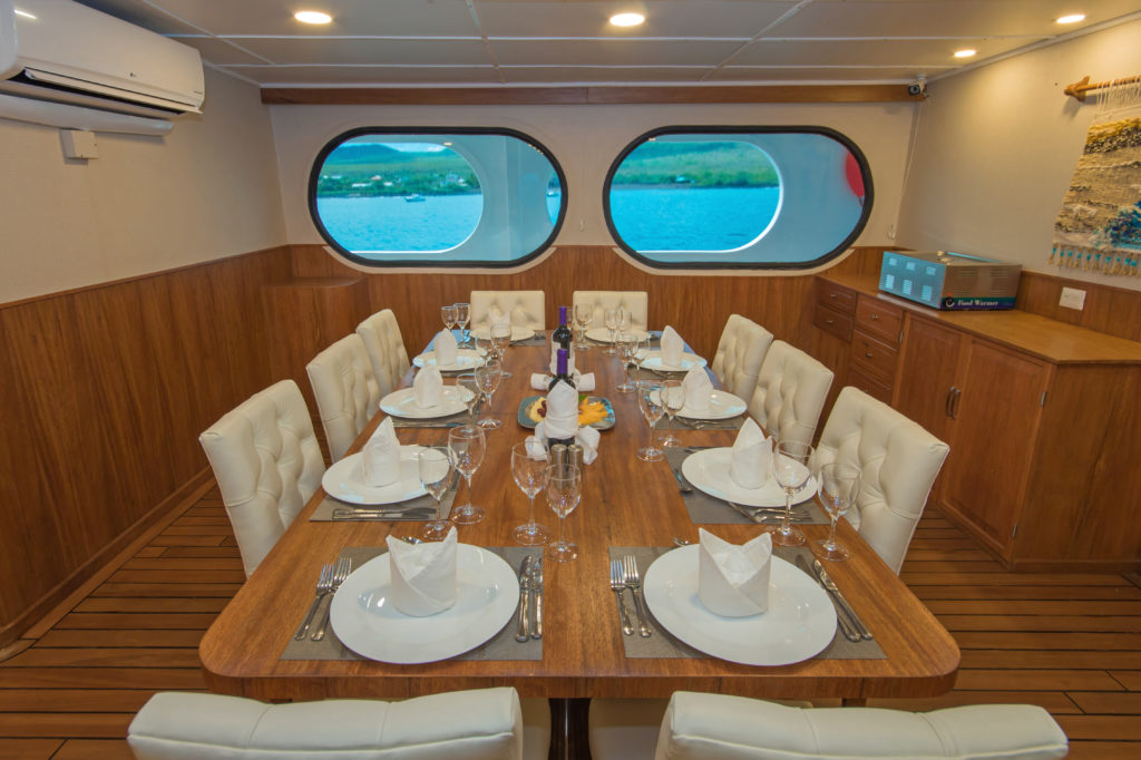Fine dining on a 6 Day Galapagos cruise