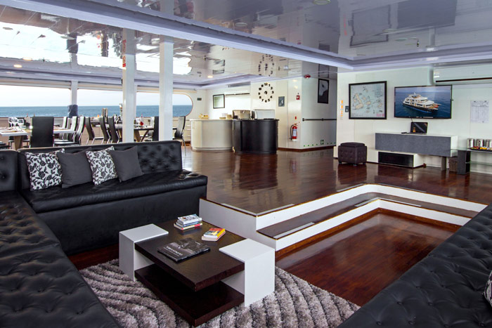 Beautiful lounge area on the Ultimate Galapagos Luxury Cruise