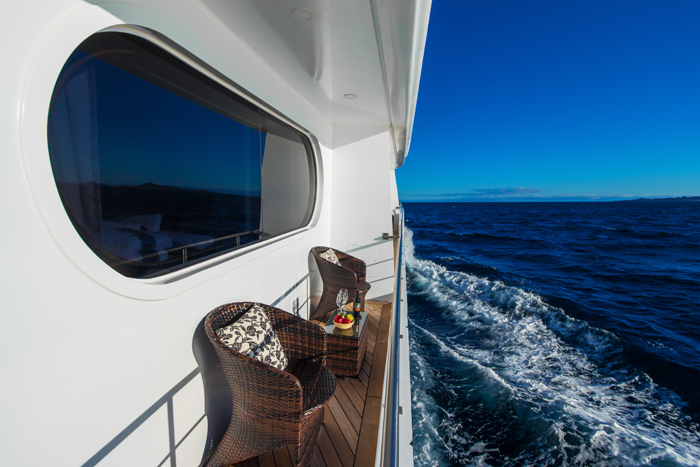 Beautiful and ample private balconies onboard the deluxe luxury Galapagos cruise Petrel