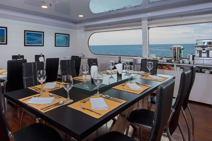 Fine dining onboard the deluxue luxury Galapagos cruise Petrel