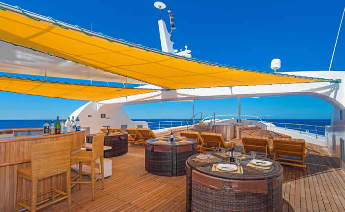 Al fresco dining option onboard the deluxe luxury Galapagos cruise Petrel