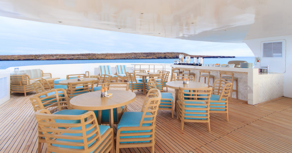 Alfresco dining option onboard the Endemic the best Galapagos luxury expedition