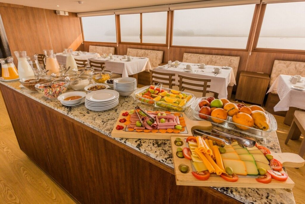 Buffet Breakfast at the First-class Amazon River Cruise