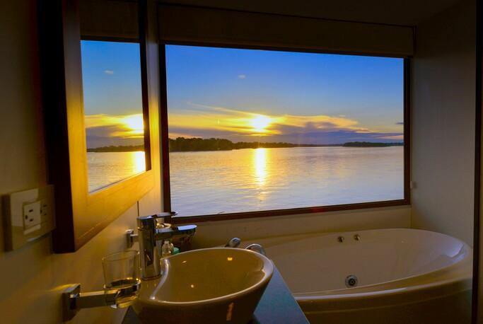 Beautiful bathroom onboard a luxury amazon river cruise