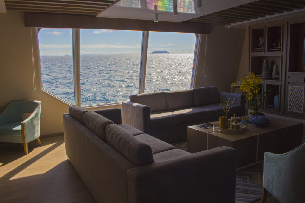 Panoramic view windows onboard the Endemic the best Galapagos luxury expedition