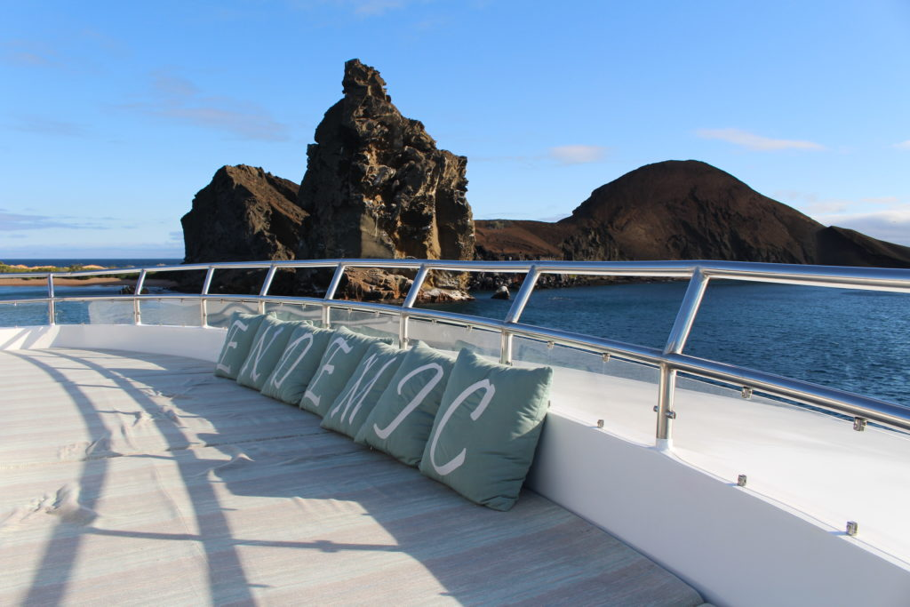 Beautifully decorated Skydeck onboard the best Galapagos Luxury Expedition - Endemic