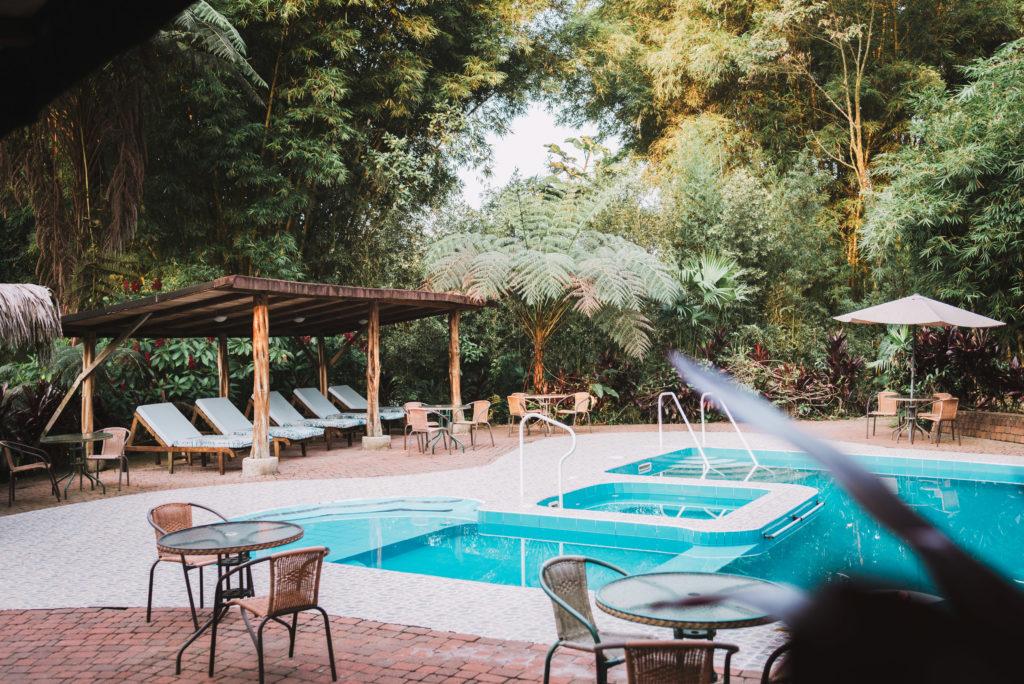 Fun in the pool at the Huasquila Ecuador Amazon Lodge