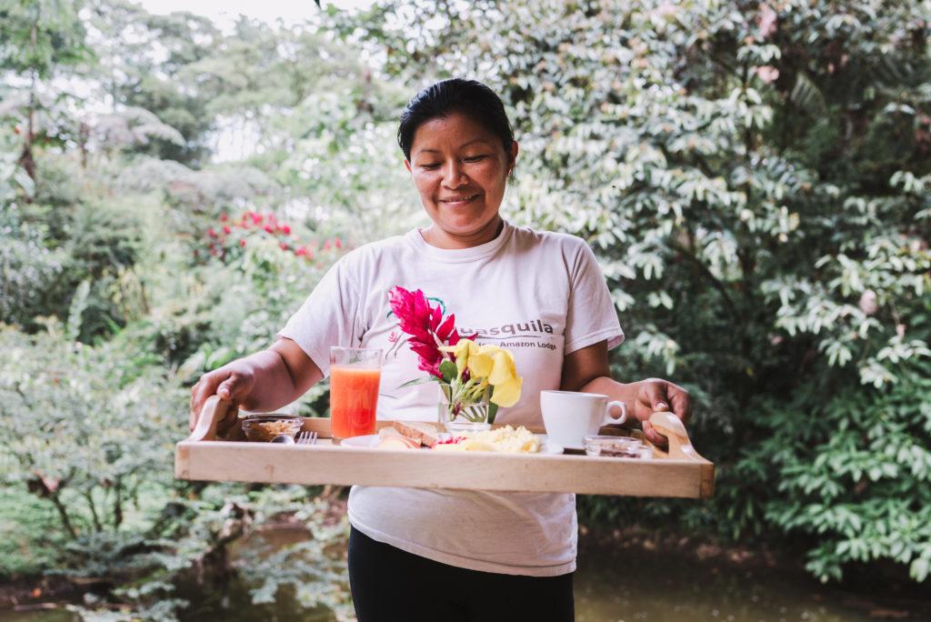 Breakfast at the Huasquila Ecuador Amazon Lodge