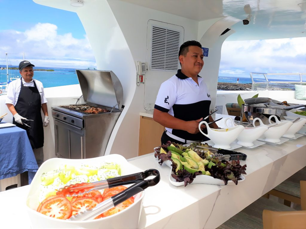 Seafood BBQ station onboard the Endemic the best Galapagos luxury expedition