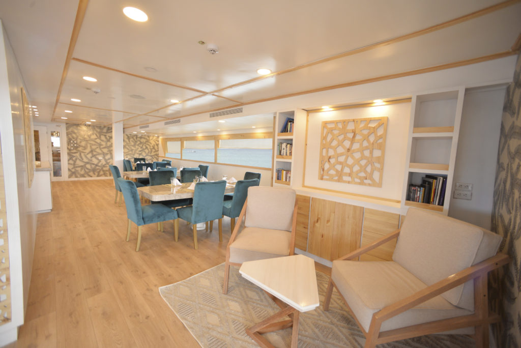 Reading corner onboard the perfect Galapagos luxury cruise