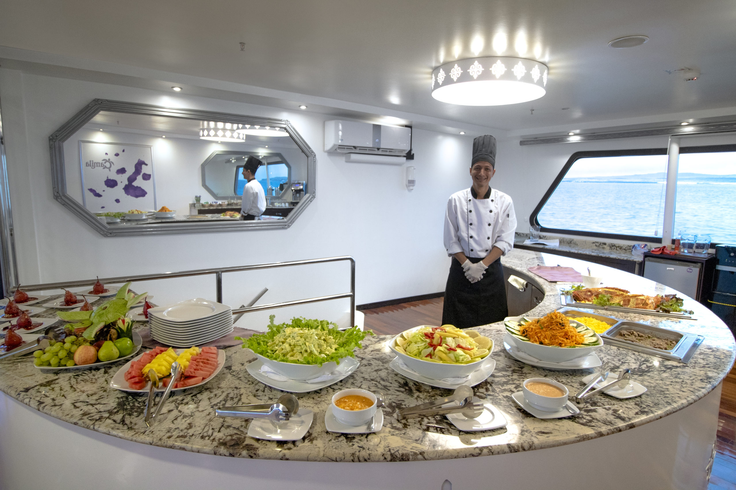 Gourmet meals aboard the Camila Trimaran make for the Finest Galapagos Luxury Experience