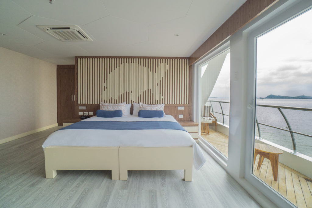 Beautiful spacious Golden Suites onboard the Elite Galapagos Luxury Expedition