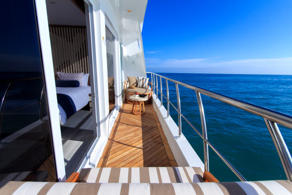 Private balcony onboard the Elite Galapagos Luxury Expedition