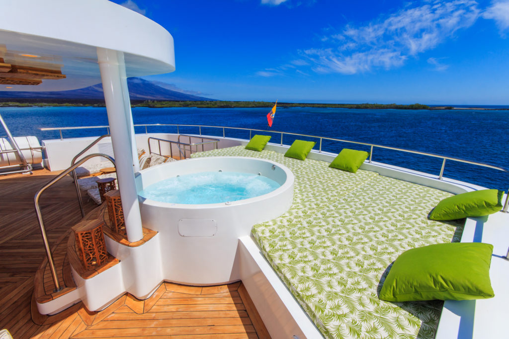 Pristine jacuzzi on sky deck onboard Elite Galapagos Luxury Expedition