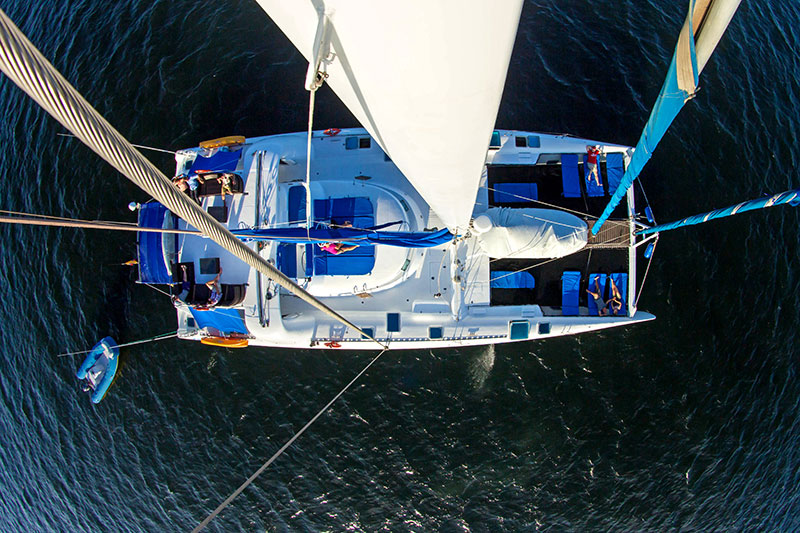 Aerial view of the premier Galapagos adventure cruise