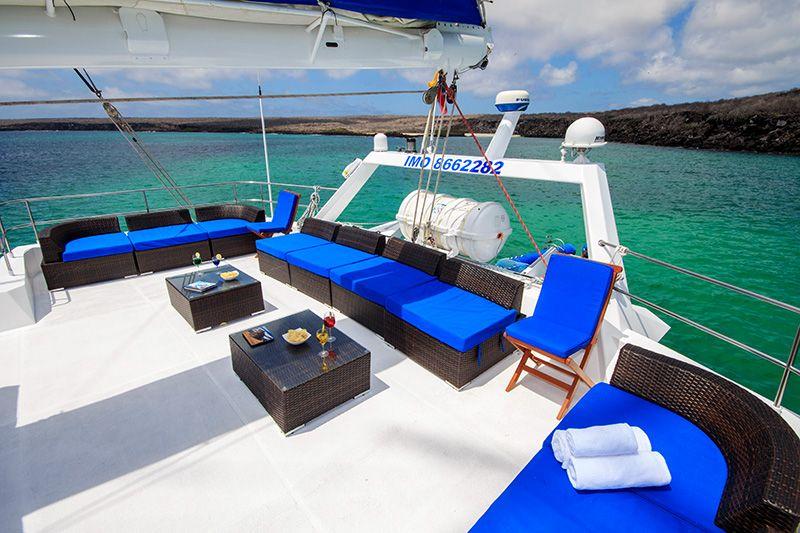 Sundeck on First Class Galapagos Catamaran