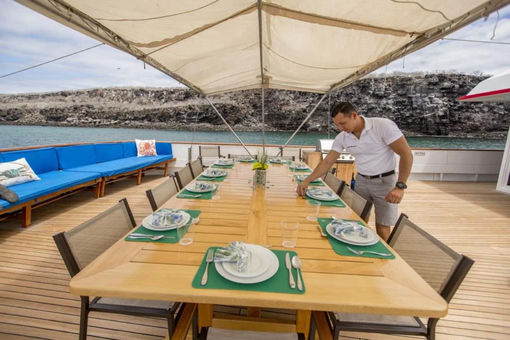 Alfresco dining onboard the best Galapagos private charter