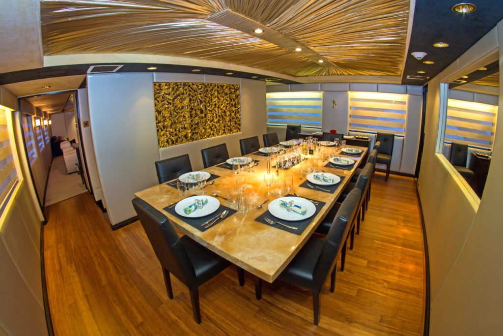 Fine dining aboard the best Galapagos private charter
