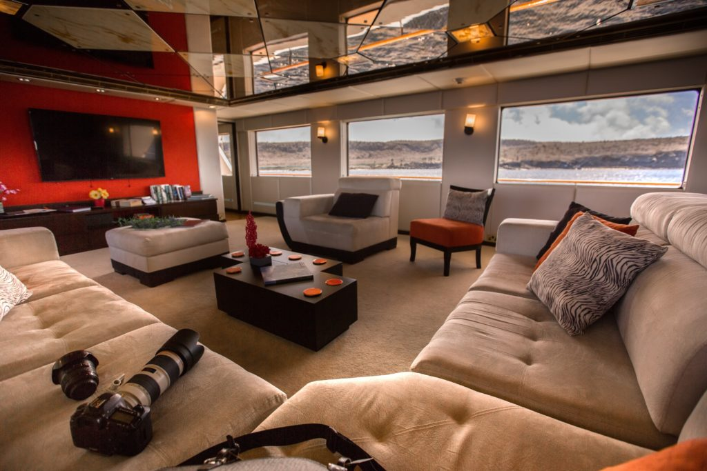 Beautiful lounge aboard the best Galapagos private charter