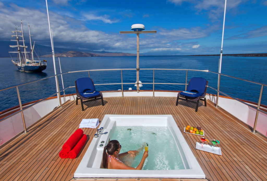Exquisite jacuzzi aboard the best Galapagos private charter