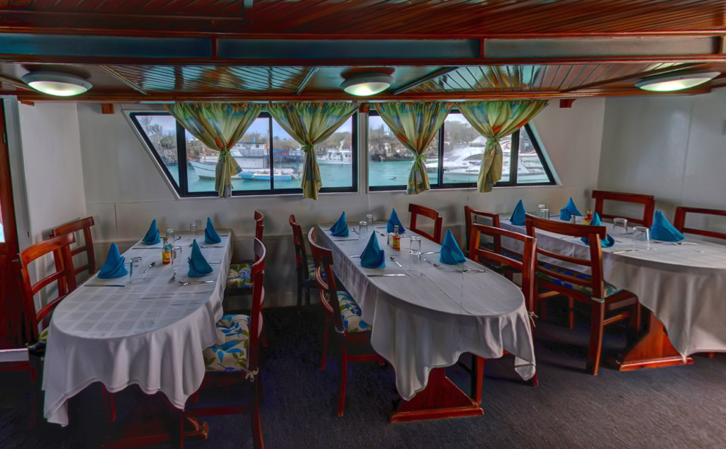 Dining room onboard the Cheapest Galapagos Cruise